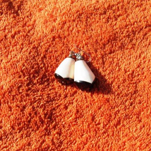 Naušnice kornoutek - mušlovina - bílé, nebo hnědé