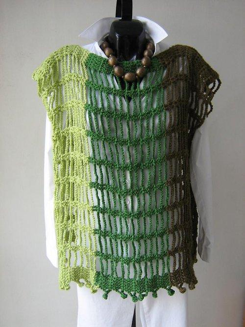 Zelená háčkovaná tunica - vesta