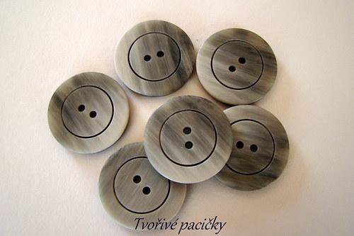 Knoflík šedý, melír 2 dirky - 5ks