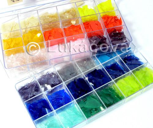 Fusing - lupínky barevného skla COE85, 20g