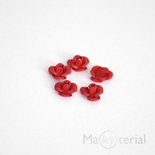 Kovová růžička - červená - 20 ks