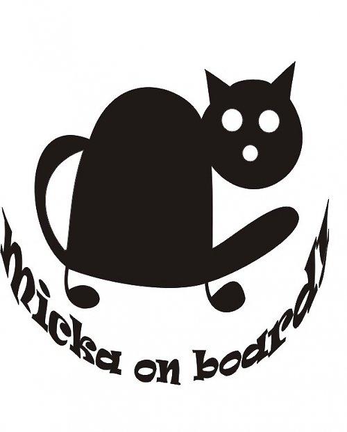 samolepka kočka v autě