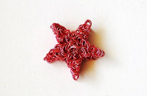 Hvězda z drátku 4x20mm - růžová