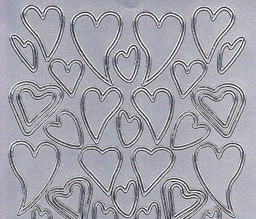 Samolepící kontury stříbrné srdce