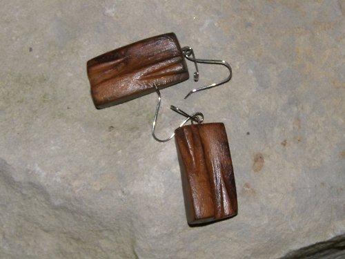 Dřevěné náušnice - světlé