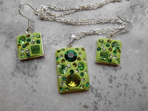Zelená třpytivá sada - obdelník + čtverec