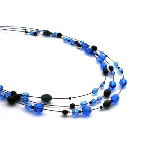 Modročerný třířadý náhrdelník delší