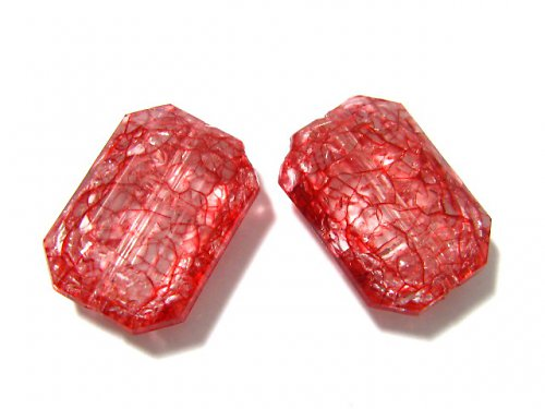 0800930/Obdélník cracklovaný červený, 3 ks