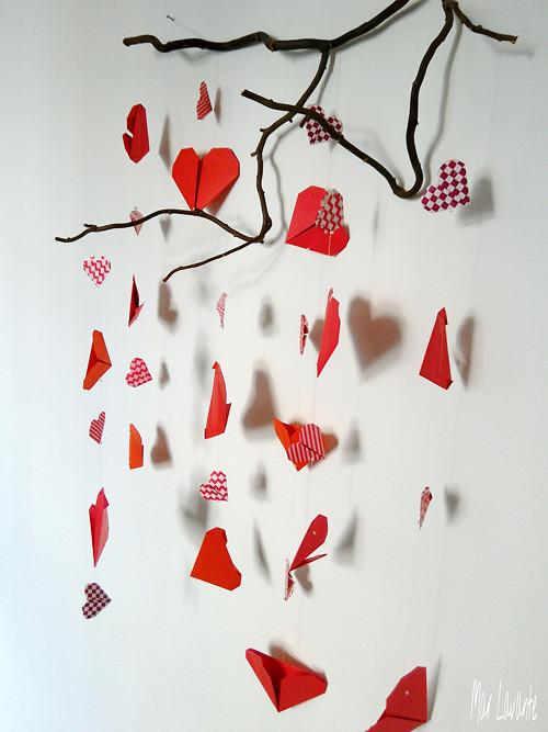 Origami romantický závěs srdce červená a vzor