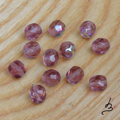 Broušené AB fialové, 6 mm - 20 ks