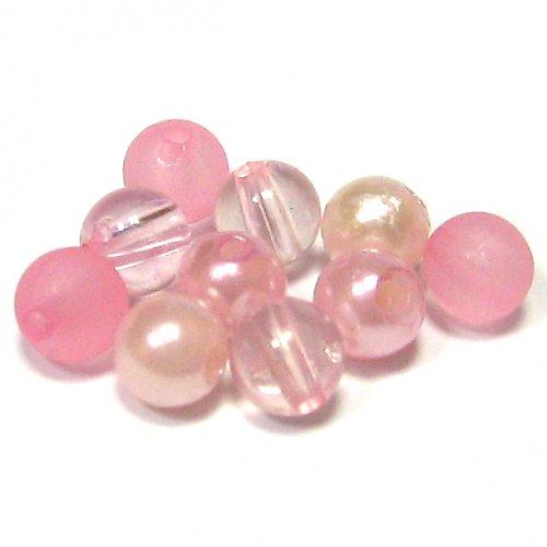 Směs perel a korálků - růžová - 50 ks