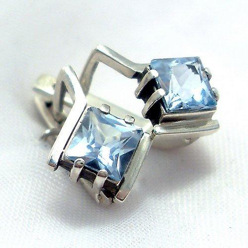 Náušnice «Mini» - stříbro 925, modrý topaz
