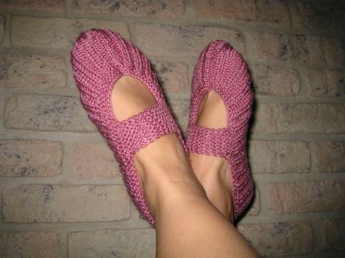 Pletené balerínky - ružové drevo
