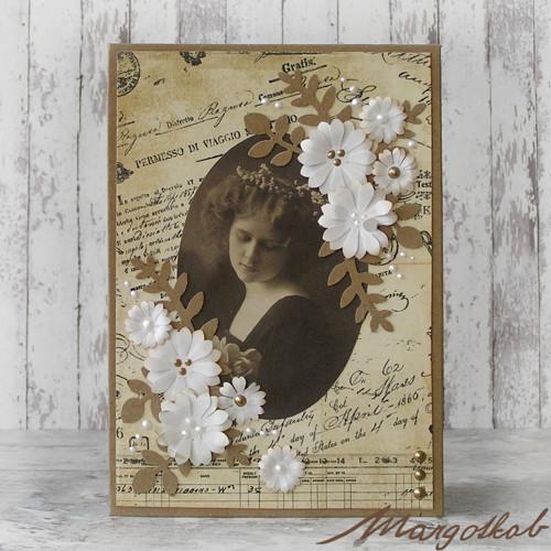 Vintage romantika - přáníčko s květy