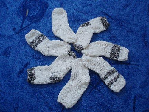 Ručně pletené ponožky z pravé ovčí vlny pro děti