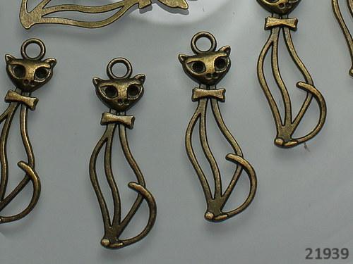 21939 Vintage přívěšek KOČKA bronz, bal. 2ks!!