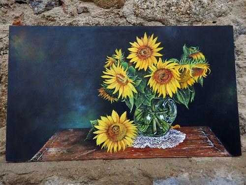 Truhla / Zátiší se slunečnicemi