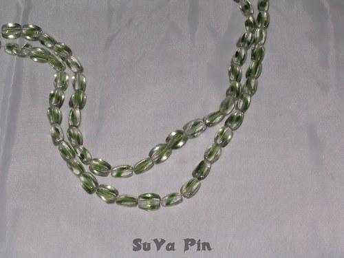 Korálky duhovky kvádr zelený 10x6mm; 19 ks