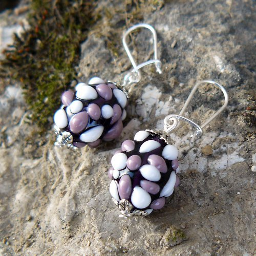 Náušnice - tmavě fialové mozaikové olivy