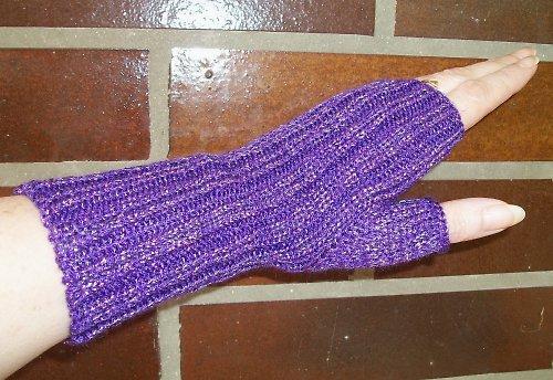 Pletené návleky na ruce - fialové