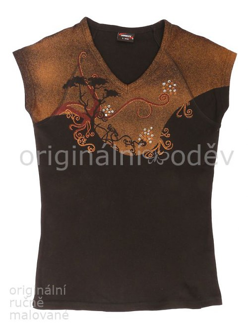 Malované tričko dámské - strom - černé