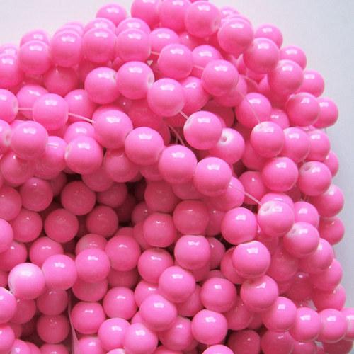 skleněné korálky LESK/ růžová sv./ 6mm/20ks