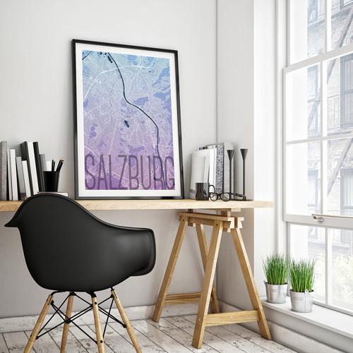 SALZBURG, 50x70cm, elegantní, modro-fialový