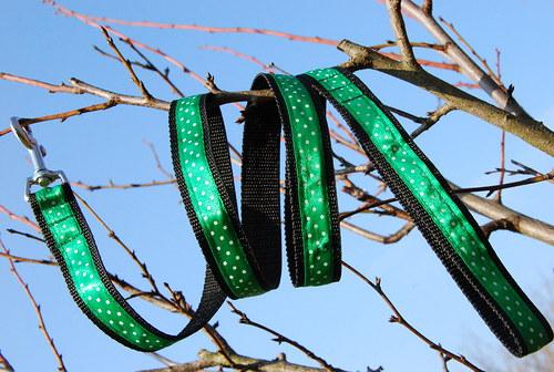 Vodítko klasické - zelené s puntíky