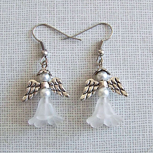 Náušnice andělíček ant.stříbro, bílý/ 2ks