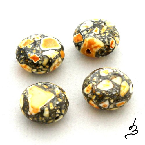Mramorované žluté placky - 4 ks
