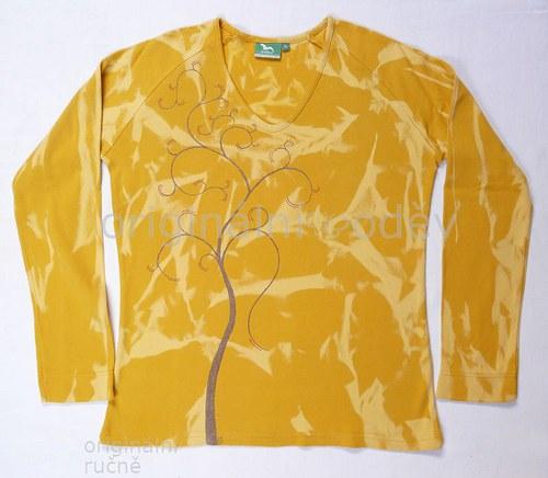 SLEVA: Malované tričko dámské - strom - žluté