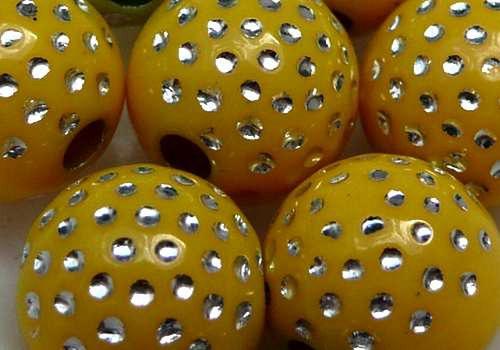 Plastové kuličky s tečkami 10 mm - žlutá / 4 ks