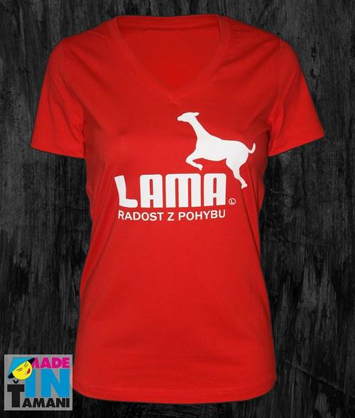 """Dámské červené tričko do \""""V\"""" s Lamou"""