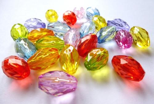 Akrylové oválky broušené mix barev10ks
