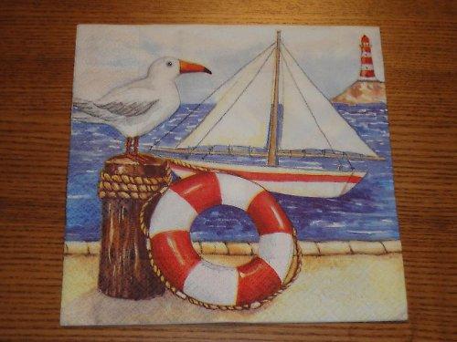 Ubrousek na decoupage - racek u moře