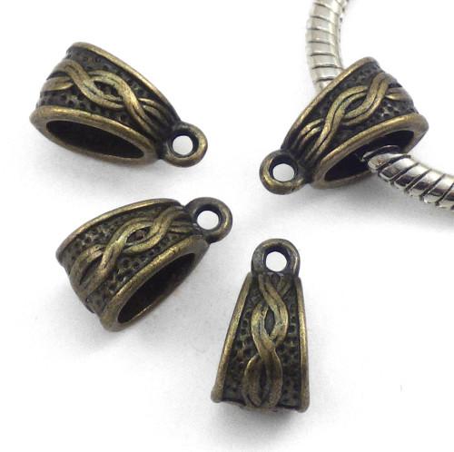 Závěsné ouško ozdobné - bronzová šlupna, 4 kusy
