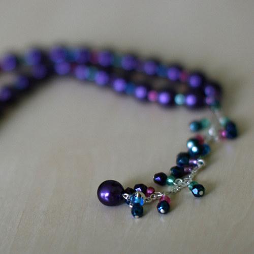 náhrdelník fialové perly