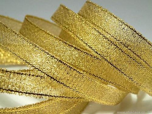 Stuha s lurexem š.10mm zlatá