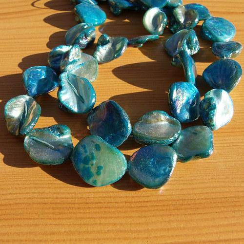 Perleťové nugety  - bílo - modré
