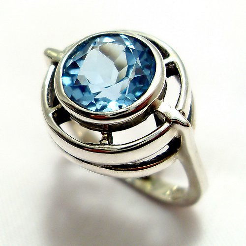 Prsten «Košík» - stříbro 925, modrý topaz