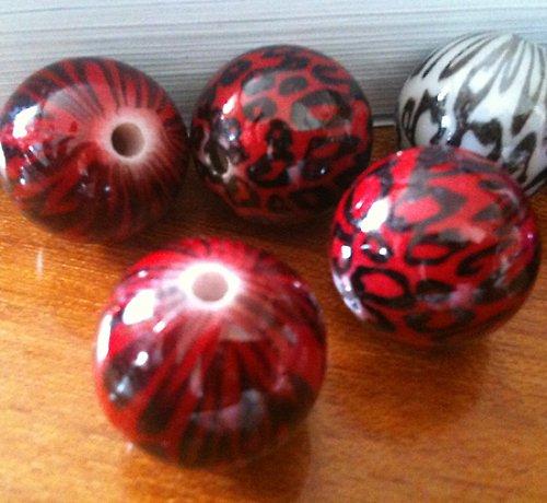 plastové kuličky leopardí 18mm,červená 4ks