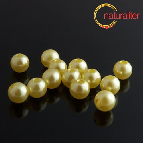 Voskované perly, žluté, 8mm, 50ks