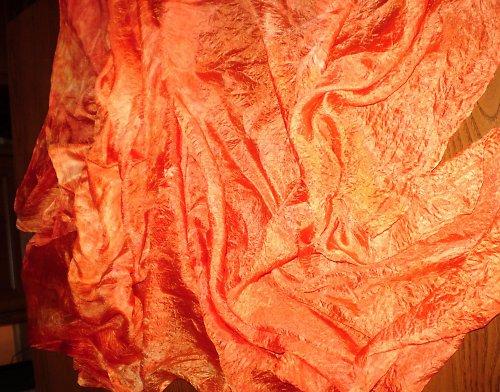 Oranžová záře - velký hedvábný pléd 180x90