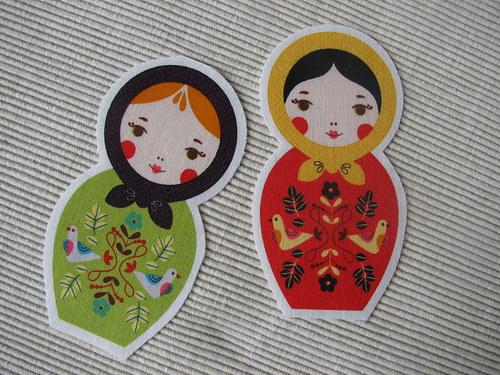 Matrjošky 2 ks - zelená a červená