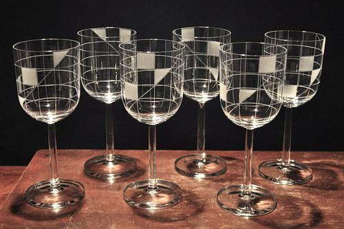 Sklenky na víno 200 ml ČTVEREČKY (6ks)