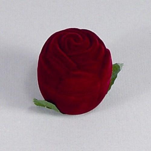 Sametová krabička na šperky - bordo růže