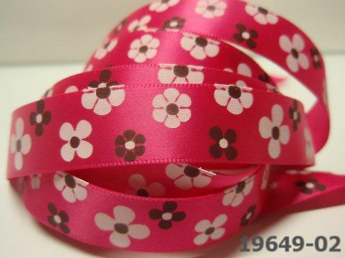 19649-B02 Stuha 16 mm s květy CYKLÁM, svazek 3m