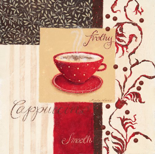 Reprodukce- tisk - červené espresso 15x15cm-20123G