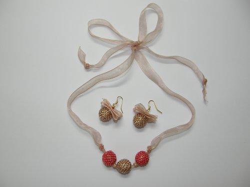 Sada náhrdelník, náušnice jahoda a karamel