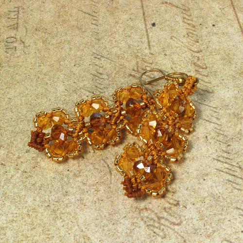 Macramé náušnice Karolína zlaté